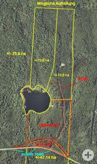 Das Areal kann ohne großen Aufwand in zwei rd. 12,8 ha große Grundstücke aufgeteilt werden